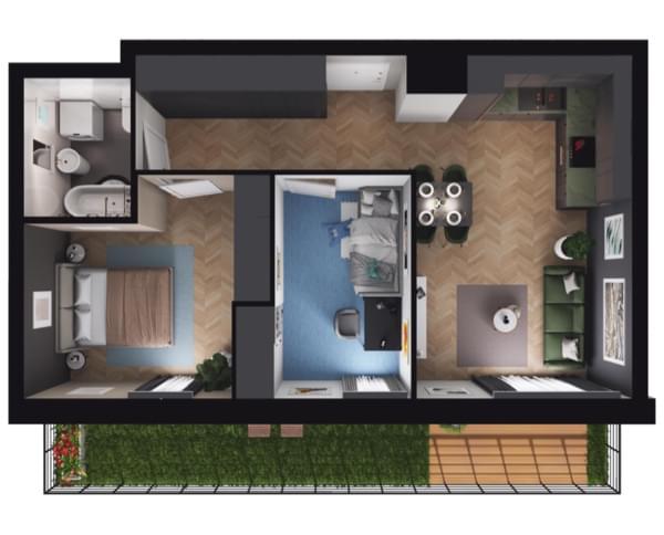 Zarzecze Pruszków - rzut 3d mieszkania 005