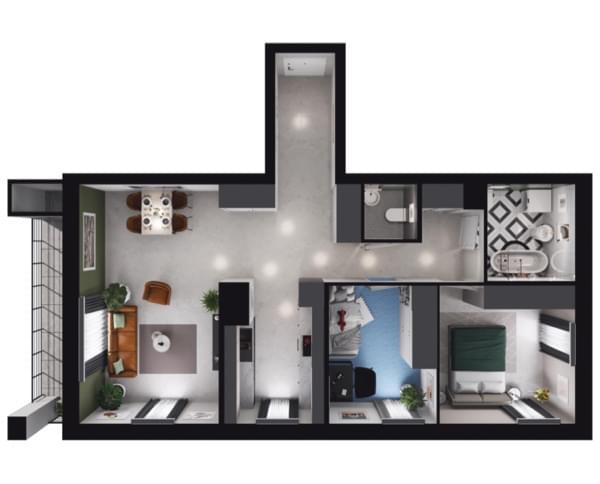 Zarzecze Pruszków - rzut 3d mieszkania 025