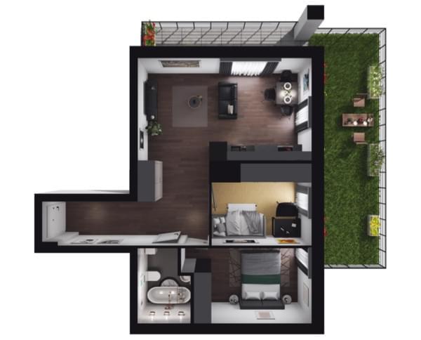 Zarzecze Pruszków - rzut 3d mieszkania 039