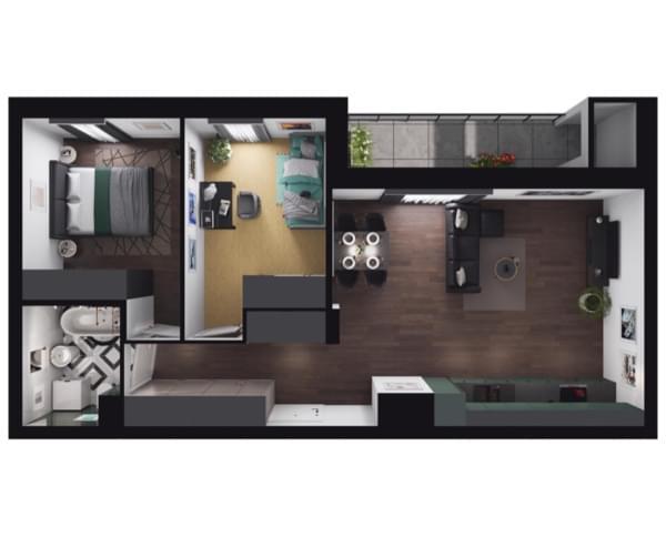 Zarzecze Pruszków - rzut 3d mieszkania 063