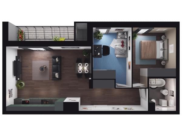 Zarzecze Pruszków - wizualizacja mieszkania 001