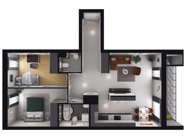 Zarzecze Pruszków - wizualizacja mieszkania 011