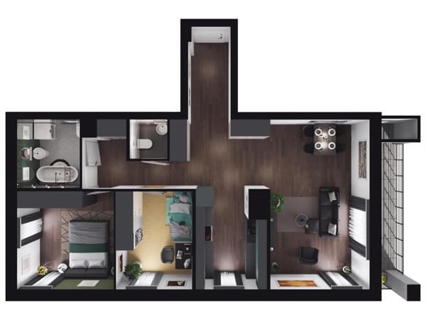 Zarzecze Pruszków - wizualizacja mieszkania 048
