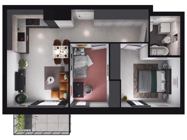 Zarzecze Pruszków - wizualizacja mieszkania 059