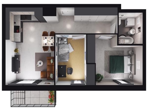 Zarzecze Pruszków - wizualizacja mieszkania 068