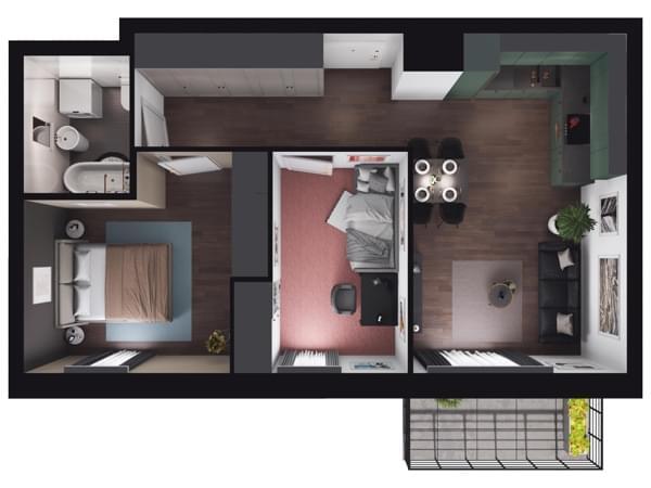 Zarzecze Pruszków - wizualizacja mieszkania 069